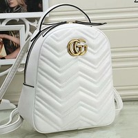 GG hot sale solid color sewing thread backpack gold buckle letter school bag Daypack White