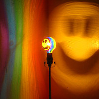 The ORIGINAL Hand-Painted Rainbow Happy Face Mood-Light Bulb 4 Color Therapy, Night Lights, Parties, Mood Lighting
