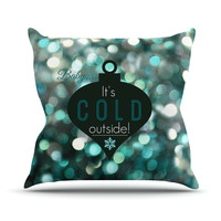 "Robin Dickinson ""It's Cold Outside"" Teal Throw Pillow"