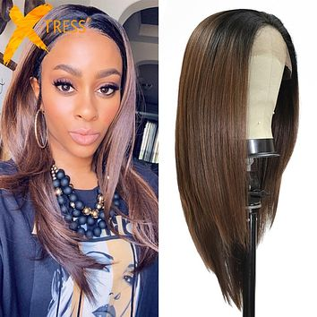 Synthetic Lace Front Wig Ombre Brown Long Straight Hair Free Part Lace Wigs With Baby Hair X-TRESS Daily Trendy Wig for Women