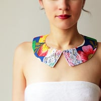 Floral Peter pan collar - Summer - Cotton and lace - Blue - Brazil