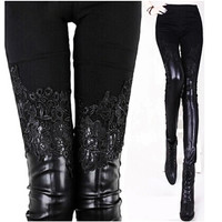 Lace Leather Patchwork Skinny Pant