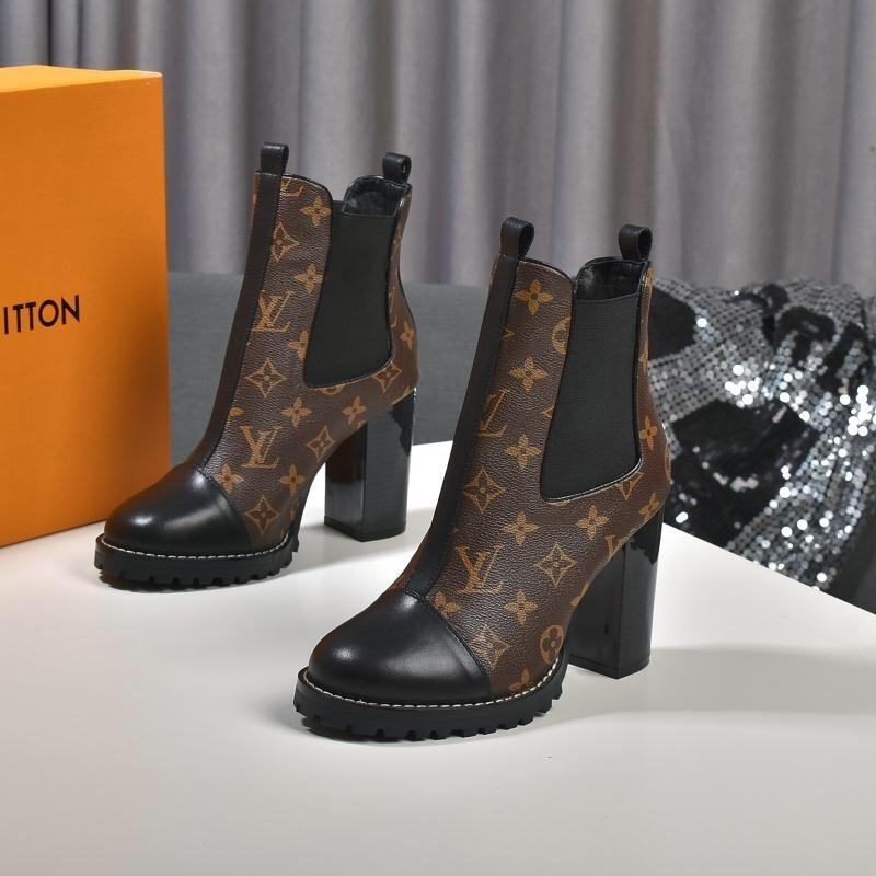 Image of lv louis vuitton trending womens black leather side zip lace up ankle boots shoes high boots 293