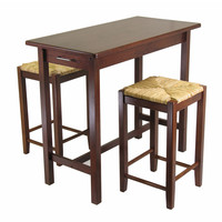 3Pc Kitchen Island Table With 2 Rush Seat Stools