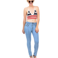 1970s Style Red, White & Blue American Flag Halter Crochet Crop Top