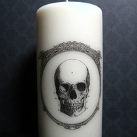 Skull Candle - Anatomy - Pillar Candle - Gift Under 20
