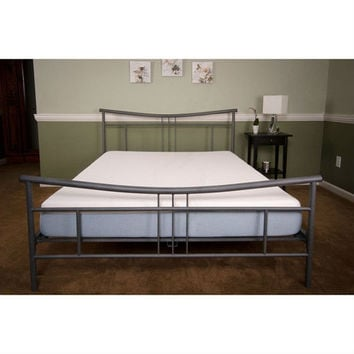 Queen size Modern Platform Bed Frame with Headboard & Footboard in Nickle Finish
