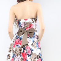 Back Ribbon Rose Flare Dress