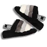 UGG Trending Womens Fluff Yeah Slides Fur Flats Sandals Slipper Shoes