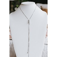Long Rhinestone Rectangle Lariat