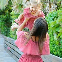 Off Shoulder Ruched Matching Mother and Daughter Beach Sundresses