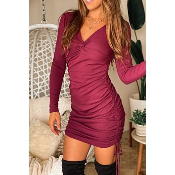 Burgundy Knot Short Dress With Pull Strings