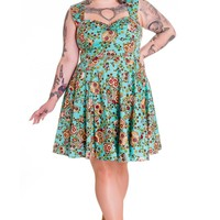 Hell Bunny Calavera Day of the Dead Flower Sugar Skull Turquoise Dress