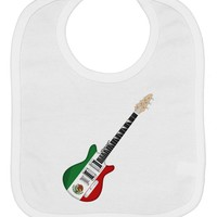 Mexican Flag Guitar Design Baby Bib by TooLoud
