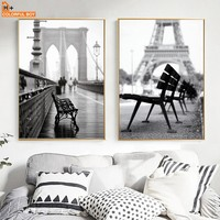 COLORFULBOY Paris Landscape Photo Canvas Painting Wall Art Print Black White Nordic Poster Wall Pictures For Living Room Decor