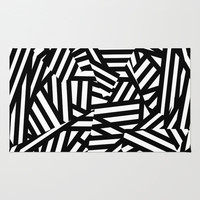 Simply Black and White 1 Area & Throw Rug by Mareike Böhmer Graphics