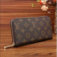 LV Women Zipper Leather Wallet Purse LV pattern Louis Vuirtton Rectangle Handbag
