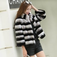 Lexus really rabbit hair Women's fur coat Natural fur real Rex Rabbit Fur Coat Jacket