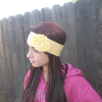 Crochet Flower Headband - Cotton Headband - Yellow Headband - Summer Fashion