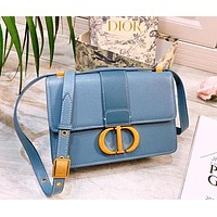 DIOR CD Fashion New Leather Solid Color Shoulder Bag Women Blue