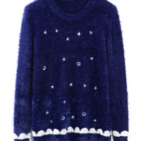 Stars Print Knit Long Sleeve Sweater