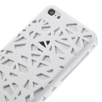 JUJEO White Hollow Bird Nest Rubber Coating Hard Cover for iPhone 5c - Retail Packaging - White
