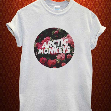 arctic monkey flower Music tee Ash Grey t Shirt Men and Women T Shirt more size available