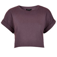 Roll Back Sleeve Crop Tee - Jersey Tops  - Clothing