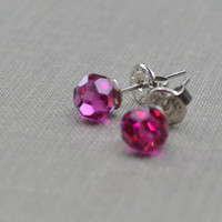 Hot Pink Disco Ball Earrings, Fuschia Crystal Stud Post, Vintage Round Faceted Swarovski Earrings