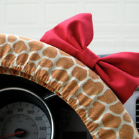 Giraffe Steering Wheel Cover with Matching Red Bow by BeauFleurs