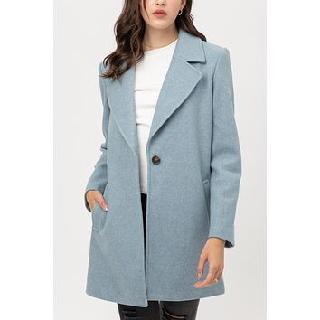 Soft Fleece Single Breasted Notch Collar Coat with Pockets