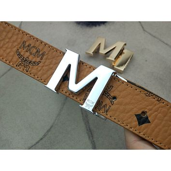 MCM gold and silver M letter buckle Classic letter print Fashion belt