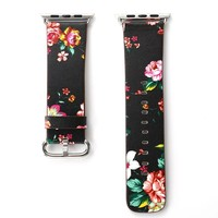 Pink Rose Printed Leather Watch Band Strap for Apple Watch