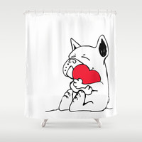 Frenchie Heart Shower Curtain by Huebucket