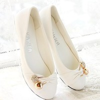 Bowknot rhinestone flat documentary shoes for women's shoes