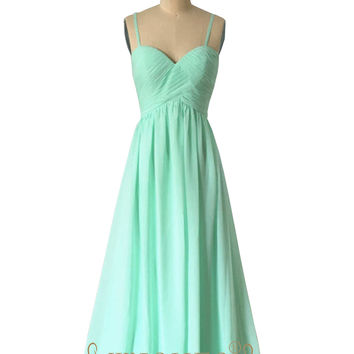 A-line Spaghetti Straps Blue Chiffon Bridesmaid Dresses AM513