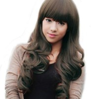 Cute Long Wavy Curly Synthetic Hair Party Wig (Model: Jf010266) (Brown)
