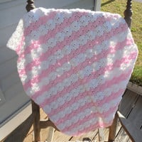 Baby Girl Crochet Baby Blanket Pink and White Crochet Baby Blanket  Crochet Photo Prop 23 x 27