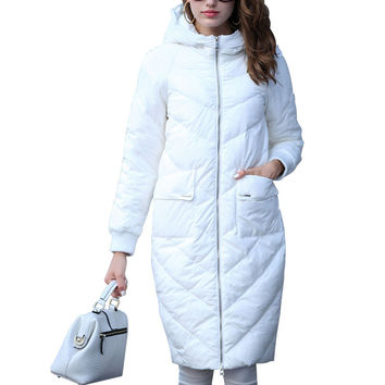 Women's Winter Jacket Hooded Coats White Long Down Jackets Parkas For Women Elegant Cocoon Thick Coats Doudoune Femme Invierno