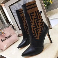 Fendi Women Fashion Casual Socks Half Boots Pointed Toe High Heels Shoes