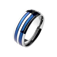 True Blue Titanium - Dual Blue Bands Beautifully Crafted Blue Titanium Comfort Fit Ring