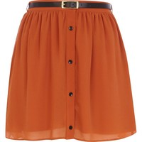 Brown button down belted mini skirt - skirts - sale - women