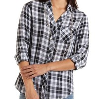 Selfie Graphic Plaid Button-Up Shirt by Charlotte Russe