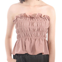 Summer Candy Color Strapless Blouse