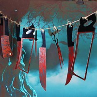 12pcs/lot Halloween Blood Knife Tools Sets Horror Spooky Haunted House Hanging Knife Garland Banner Halloween Decoration