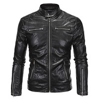 Fashion Vintage Motorcycle Jacket Men Leather Biker Jacket High Quality