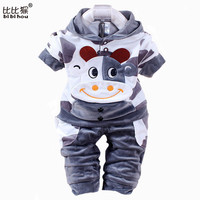 2016 Spring New Baby Kids Children Hello Clothing Set Boys Girls Velvet Clothes Set Cartoon T Shirt Hoodies Pant Suit Sport Suit