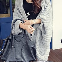 Solid Color Batwing Sleeve Asymmetric Cardigan