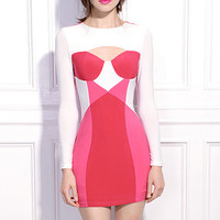 ROMWE | Zippered Cut-out Pink Dress, The Latest Street Fashion