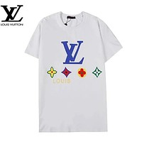 Louis Vuitton LV Summer New Fashion Letter Monogram Print Women Men Top T-Shirt White